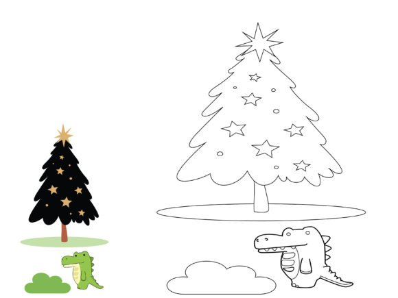 Animal Crocodile Christmas Coloring Kids Graphic Illustrations By optimasipemetaanlokal