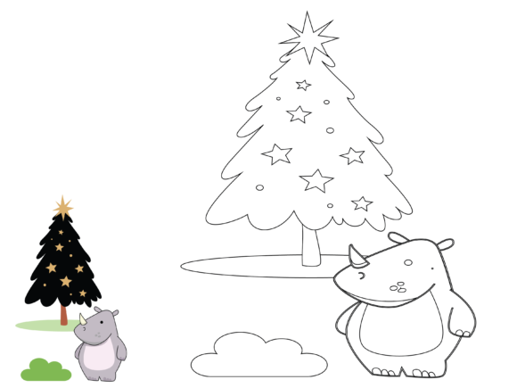 Animal Rhino Christmas Coloring Kids Graphic Illustrations By optimasipemetaanlokal