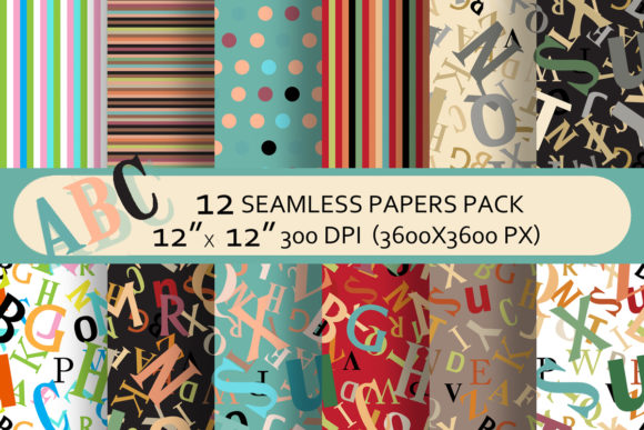 Back to School Seamless Paper Pack Graphic Patterns By arevkasunshine
