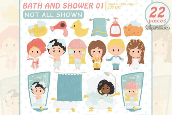 Bath and Shower Clipart, Kids Grooming Graphic Illustrations By clipartfables