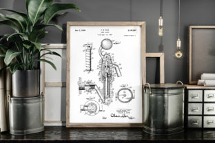 Print on Demand: Beer Faucet 1940 Patent Art Poster Graphic Illustrations By Antique Pixls