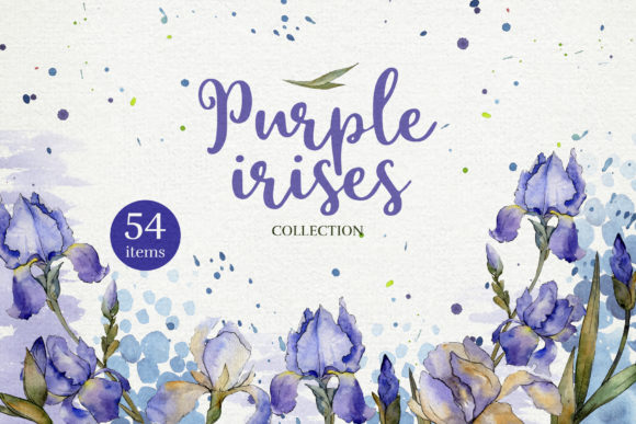 Print on Demand: Blue Irises Flowers Morning Dawn Watercolor Png Graphic Illustrations By MyStocks
