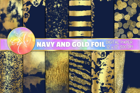 Blue Navy and Gold Foil Digital Paper Graphic Backgrounds By paperart.bymc