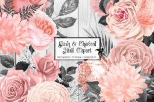 Print on Demand: Blush and Charcoal Floral Clipart Graphic Illustrations By Digital Curio 2