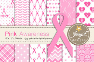 Breast Cancer Awareness Digital Papers Graphic Backgrounds By jennyL_designs