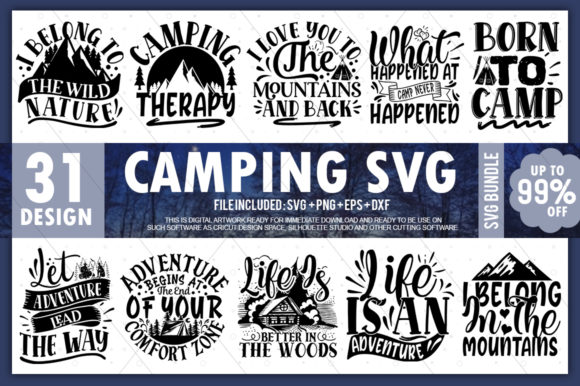 Print on Demand: Camping Bundle Vol.1 Graphic Crafts By PrintableSvg