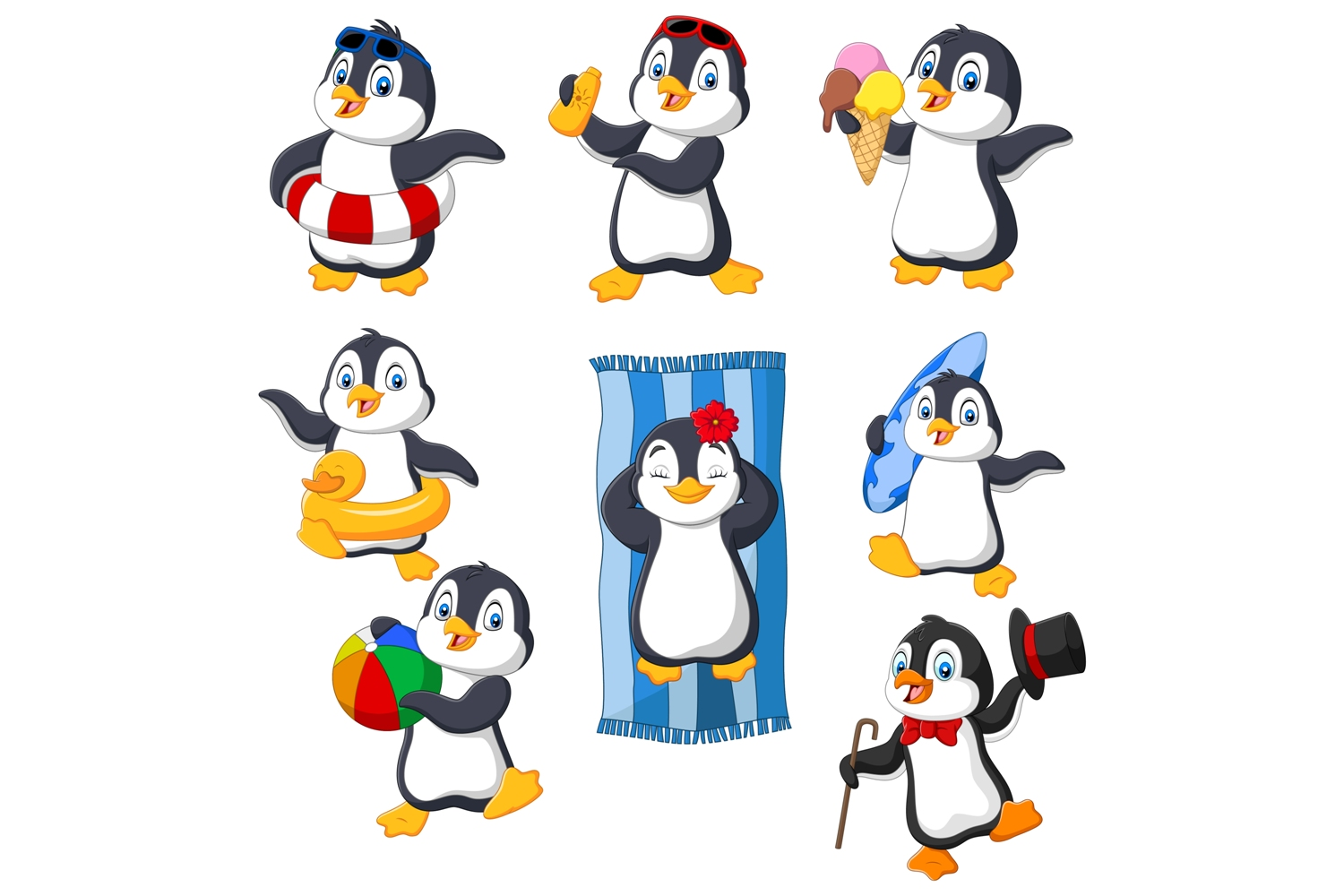 Cartoon Penguins Clipart Graphic By Tigatelusiji Creative Fabrica