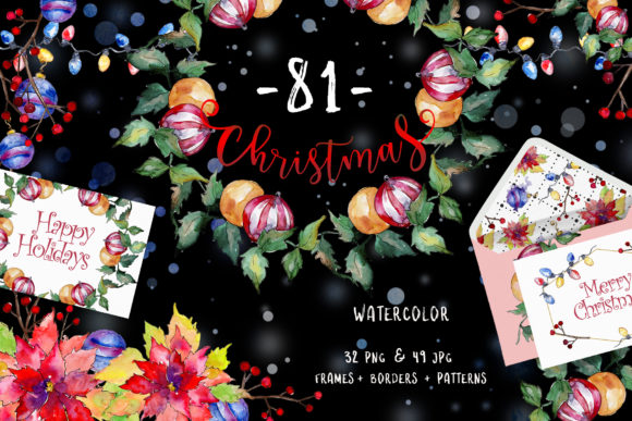 Print on Demand: Christmas Happy Holiday PNG Watercolor Set Graphic Illustrations By MyStocks