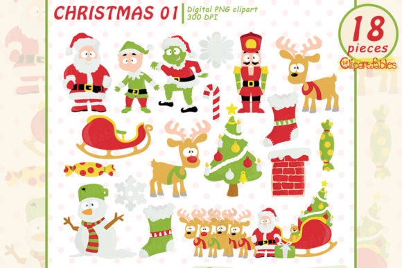 ChristmasClipart, Cute Santa Designs Graphic Illustrations By clipartfables