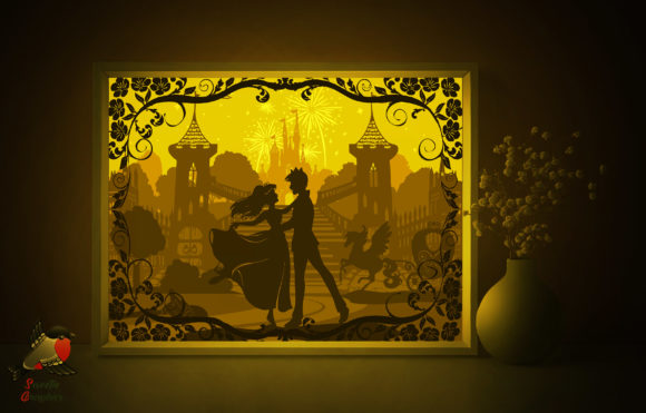 Cinderella Light Box Template Princess Graphic 3D Shadow Box By SweetieGraphics