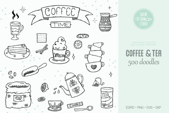 Coffee & Tea Doodles | Cups & Cookies Graphic Illustrations By Digital_Draw_Studio