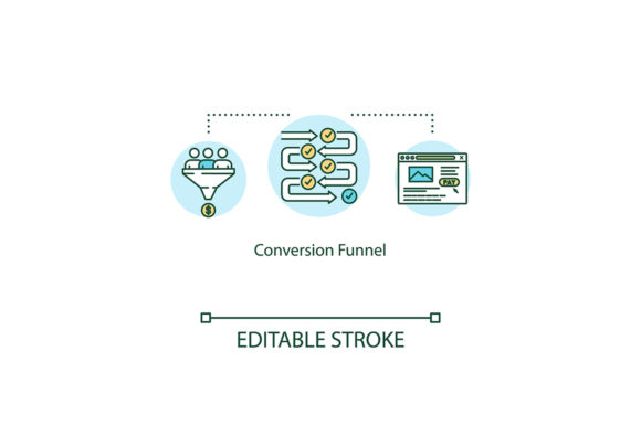 Print on Demand: Conversion Funnel Concept Icon Graphic Icons By bsd studio