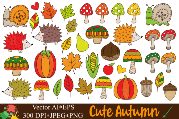 Cute Autumn / Fall Forest Clipart Graphic Illustrations By VR Digital Design