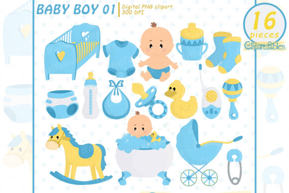 Cute Baby Boy, Baby Shower Clipart Graphic Illustrations By clipartfables