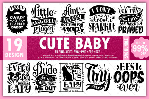 Print on Demand: Cute Baby Bundle Graphic Crafts By PrintableSvg