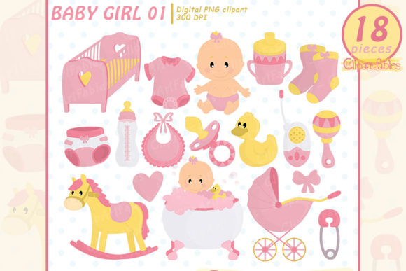 Cute Baby Girl Shower Party Clipart Graphic Illustrations By clipartfables