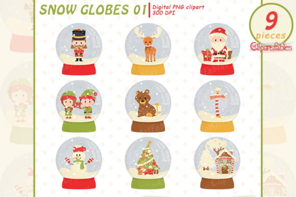 Cute Christmas Snow Globe Clipart Graphic Illustrations By clipartfables