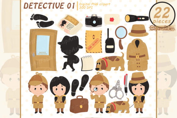 Cute Detective Clipart, Investigation Graphic Illustrations By clipartfables