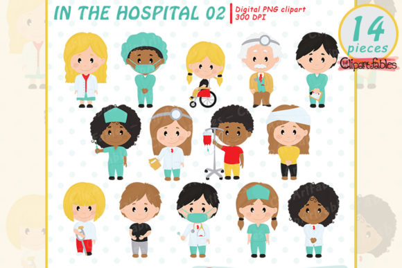 Cute Doctor, Nurse and Patient Clipart Graphic Illustrations By clipartfables
