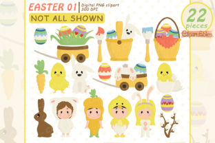 Cute Easter Clipart, Egg Hunt Clip Art Graphic Illustrations By clipartfables