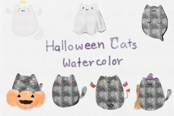 Cute Halloween Cat Watercolor Graphic Illustrations By aunny2544