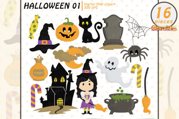 Cute Halloween Clipart, Trick or Treat Graphic Illustrations By clipartfables
