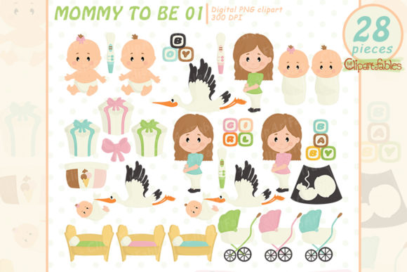 Cute Mommy Clip Art, Baby Shower Clipart Graphic Illustrations By clipartfables