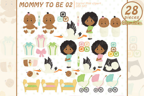Cute Mommy to Be Art, African American Graphic Illustrations By clipartfables