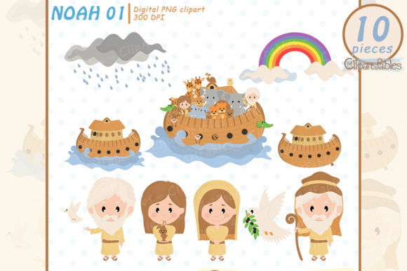 Cute Noah's Ark Clipart, Bible Theme Graphic Illustrations By clipartfables