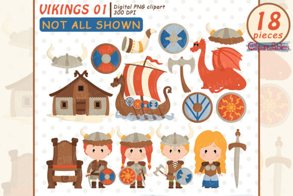 Cute Viking Clipart, Nordic Clip Art Graphic Illustrations By clipartfables