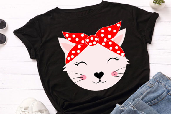 Print on Demand: Cute Cat Animal Face with  Bandana Svg Graphic Illustrations By Lillyrosy