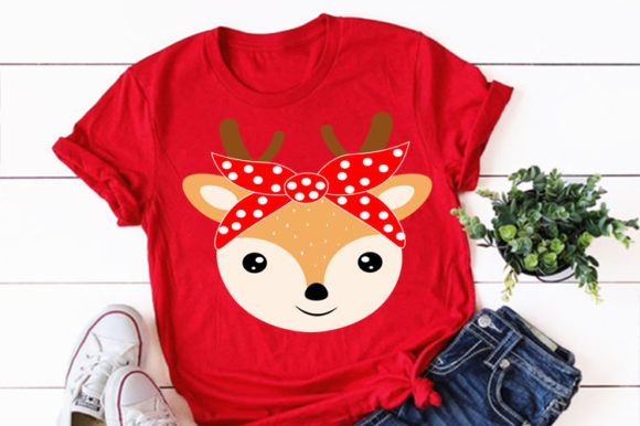 Print on Demand: Cute Deer Animal Face with Bandana Svg Graphic Illustrations By Lillyrosy