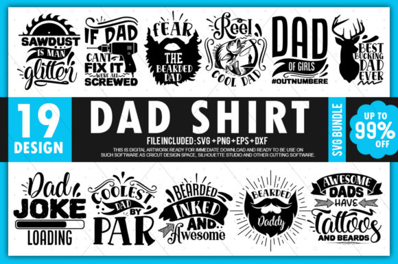 Print on Demand: Dad Shirt Bundle Graphic Crafts By PrintableSvg