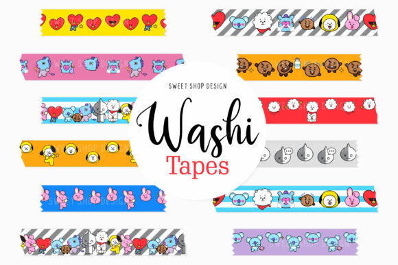 Digital Washi Tape Clipart BTS Friends Graphic Illustrations By Sweet Shop Design