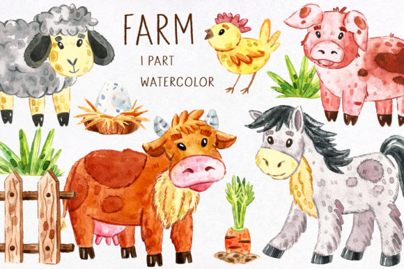 Print on Demand: Domestic Animals Watercolor Clipart Graphic Illustrations By FoxBiz