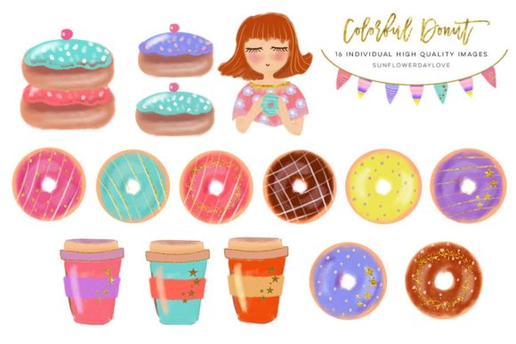 Print on Demand: Donut Clip Art Set, Donut and Coffee Graphic Illustrations By SunflowerLove