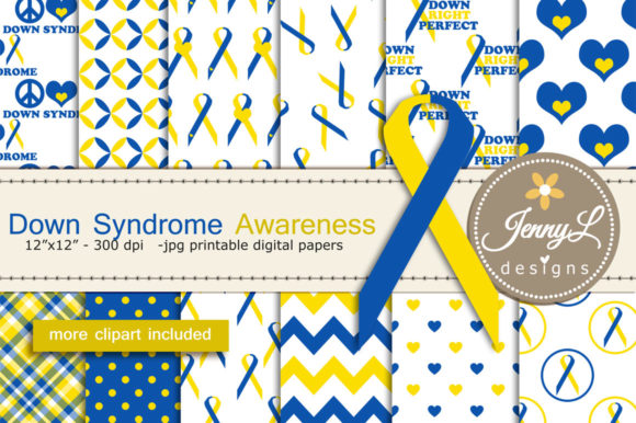 Down Syndrome Awareness Digital Papers Graphic Patterns By jennyL_designs