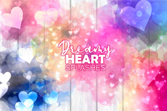Print on Demand: Dreamy Love Heart Romantic Splashes Gráfico Moldes Por Prawny