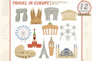 Europe Clipart, Famous Buildings Graphic Illustrations By clipartfables