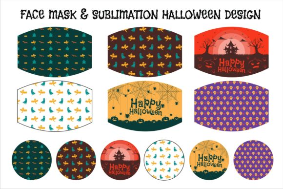 Print on Demand: Face Mask Halloween Creative Sublimation Graphic Illustrations By edywiyonopp