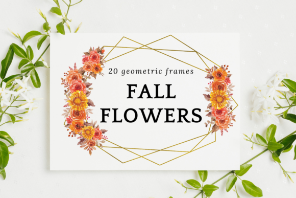Fall Flowers Watercolor Frames Graphic Illustrations By Aneta Design