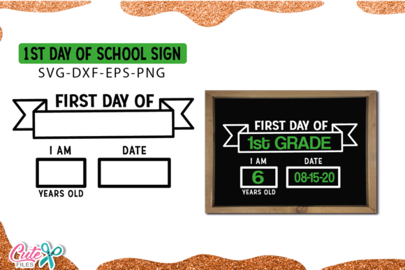 First Day of School Sign Template Graphic Illustrations By Cute files