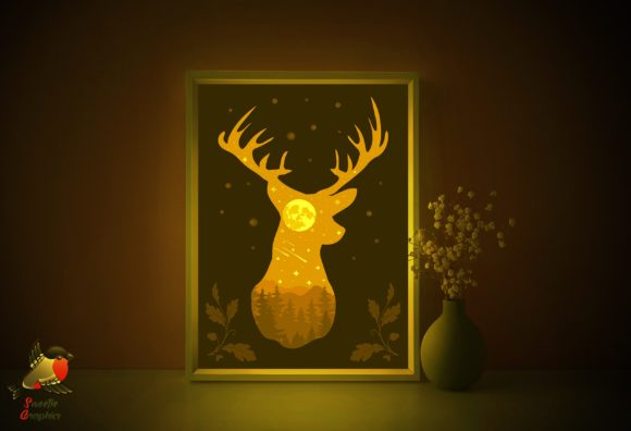 Forest Deer 3D Light Box Stars Template Graphic 3D Shadow Box By SweetieGraphics