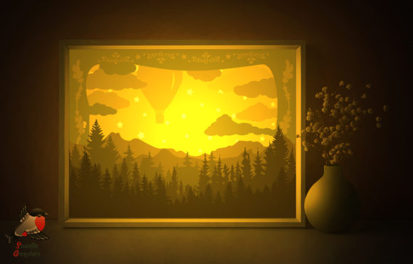 Forest Sky Balloon Light Box 3D Template Graphic 3D Shadow Box By SweetieGraphics