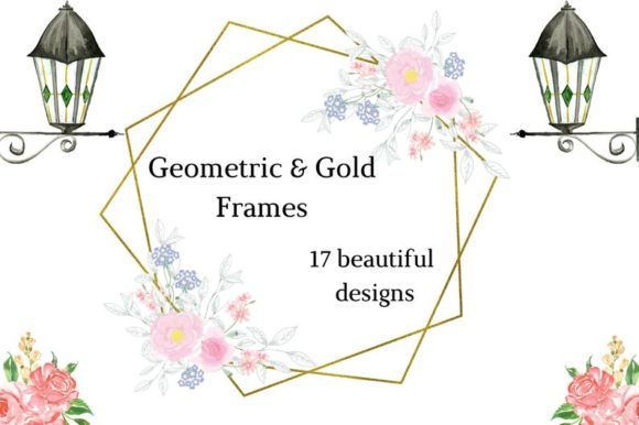 Frames with Delicate Flowers Pink Flower Graphic Illustrations By Aneta Design