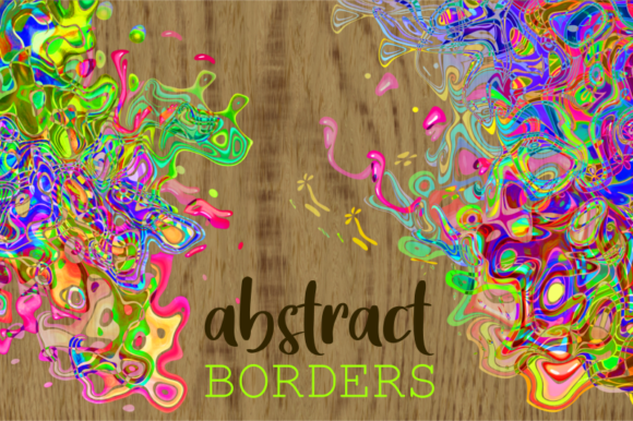 Print on Demand: Funky Abstract Squiggle Page Border Art Graphic Backgrounds By Prawny