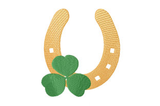Print on Demand: Gold Horseshoe with Four Leaf Clover St Patrick's Day Embroidery Design By EmbArt