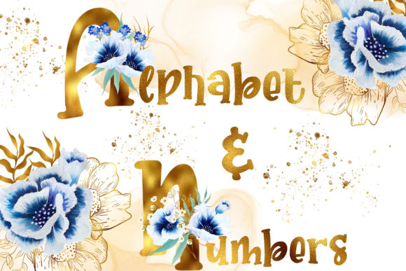 Print on Demand: Golden Watercolor Anemone Alphabet & Numbers Graphic Illustrations By Andreea Eremia Design