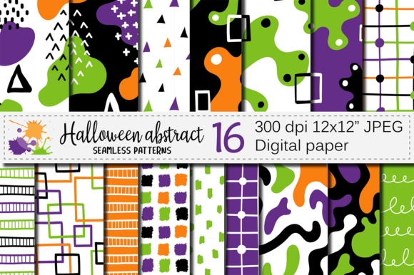 Halloween Abstract Seamless Patterns Graphic Patterns By VR Digital Design