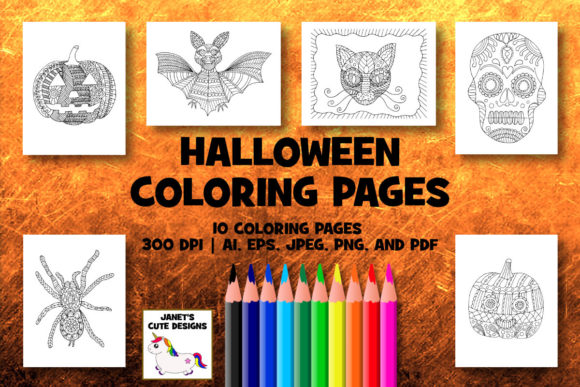 Print on Demand: Halloween Coloring Pages Graphic Coloring Pages & Books By Janet's Cute Designs